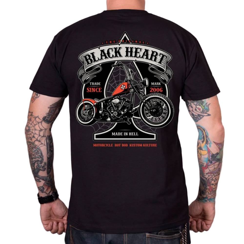 BLACK HEART Tričko BLACK HEART Orange Chopper čierna - M